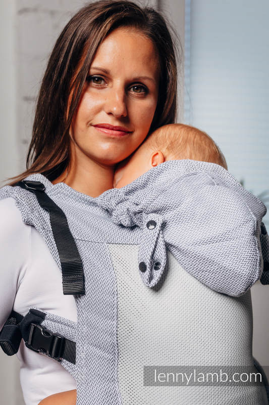 LennyGo Basic Line Ergonomic Mesh Carrier, Baby Size, herringbone weave 86% cotton, 14% polyester - LITTLE HERRINGBONE GREY #babywearing