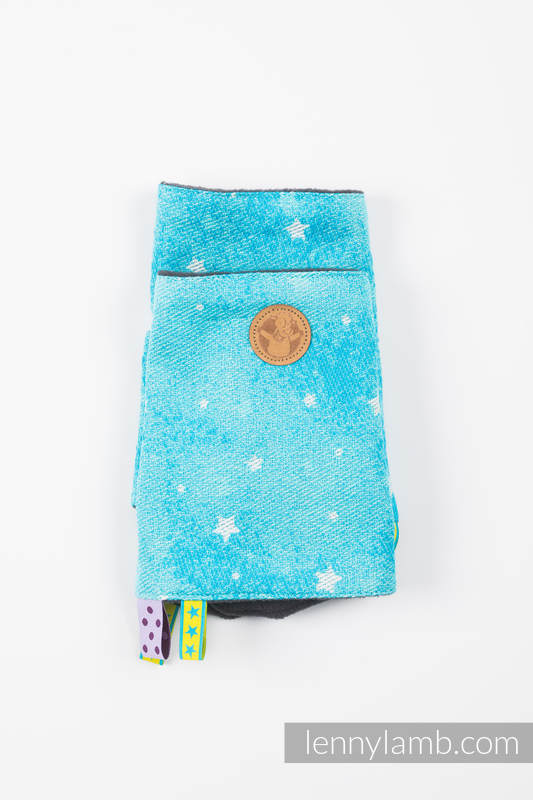 Drool Pads & Reach Straps Set, (Outer fabric - 96% cotton, 4% metallised yarn; Lining - 100% polyester) - TWINKLING STARS - PERSEIDS #babywearing