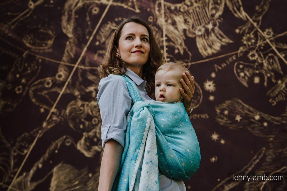 Baby Wrap, Jacquard Weave (96% cotton, 4% metallised yarn) - TWINKLING STARS - PERSEIDS - size L #babywearing