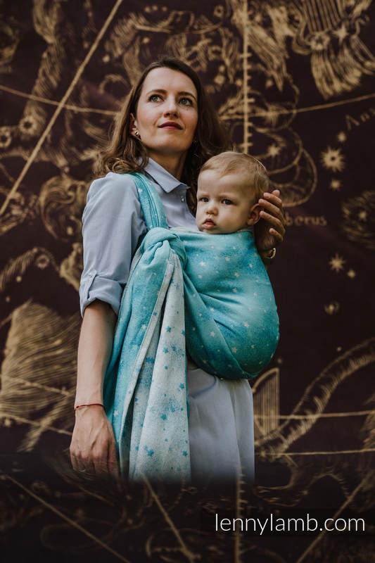 Fular, tejido jacquard (96% algodón, 4% hilo metalizado) - TWINKLING STARS - PERSEIDS - talla S #babywearing