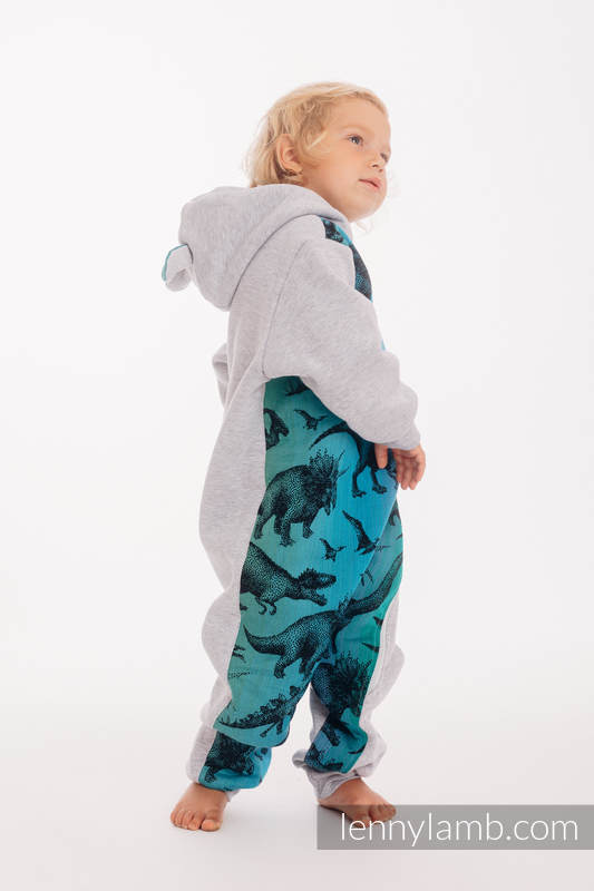 Grenouillère ours - taille 104 - Gris Chiné avec Jurassic Park #babywearing