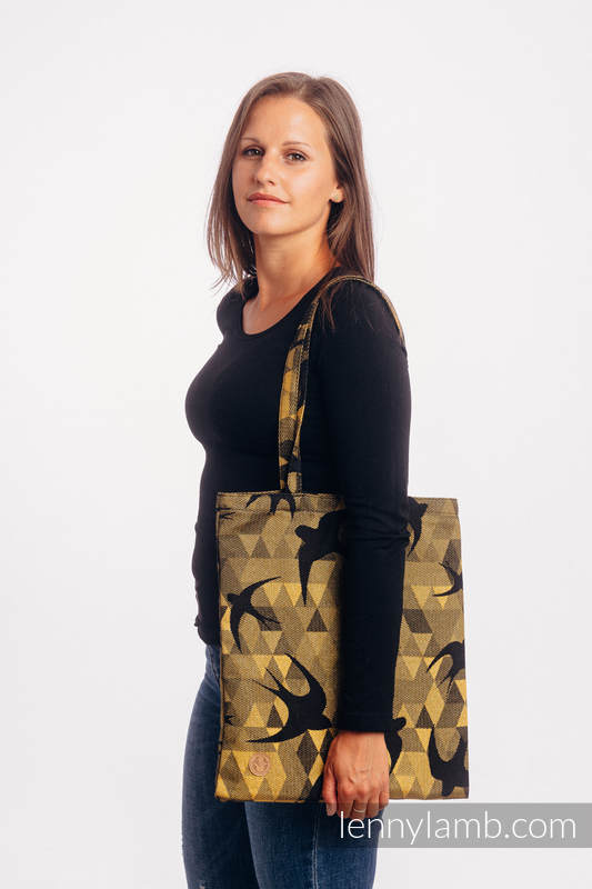 Shopping bag made of wrap fabric (96% cotton, 4% metallised yarn) - SWALLOWS BLACK GOLD #babywearing