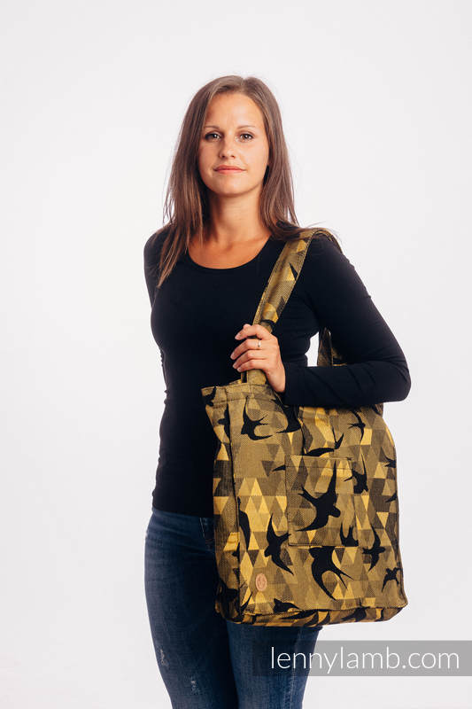 Shoulder bag made of wrap fabric (96% cotton, 4% metallised yarn) - SWALLOWS BLACK GOLD - standard size 37cmx37cm #babywearing
