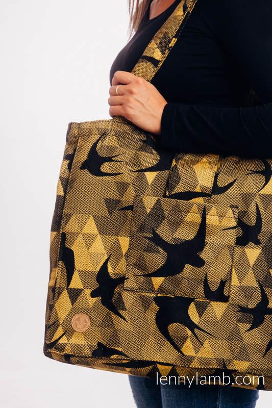 Shoulder bag made of wrap fabric (96% cotton, 4% metallised yarn) - SWALLOWS BLACK GOLD - standard size 37cmx37cm #babywearing