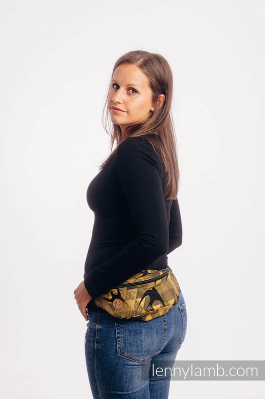 Waist Bag made of woven fabric, (96% cotton, 4% metallised yarn) - SWALLOWS BLACK GOLD #babywearing