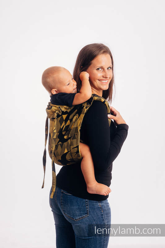 Lenny Buckle Onbuhimo baby carrier, toddler size, jacquard weave (96% cotton, 4% metallised yarn) - SWALLOWS BLACK GOLD #babywearing