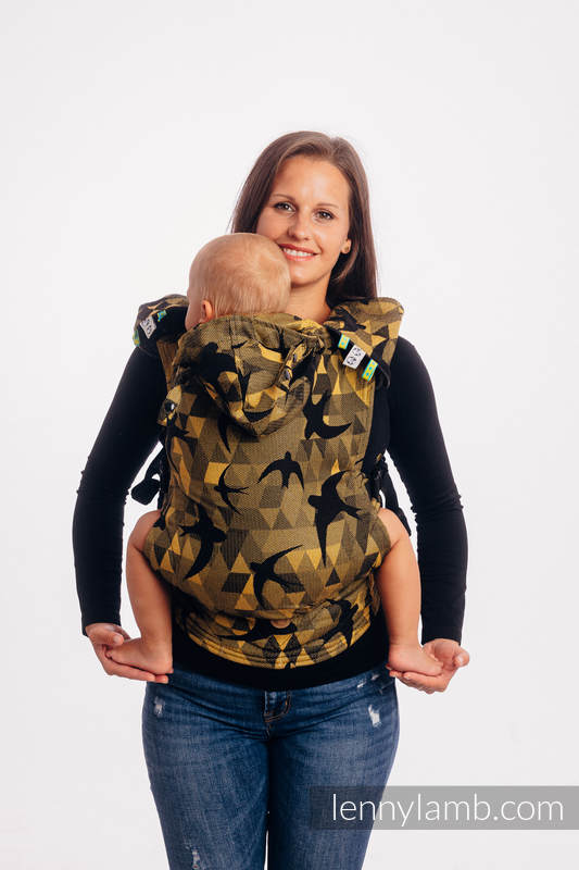 LennyGo Ergonomic Carrier, Toddler Size, jacquard weave 96% cotton, 4% metallised yarn - SWALLOWS BLACK GOLD #babywearing