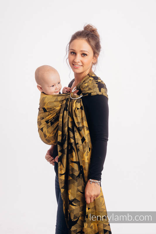 Ringsling, Jacquard Weave (96% cotton, 4% metallised yarn) - with gathered shoulder - SWALLOWS BLACK GOLD - long 2.1m #babywearing