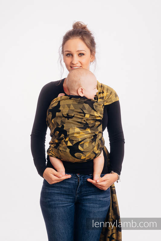 Baby Wrap, Jacquard Weave (96% cotton, 4% metallised yarn) - SWALLOWS BLACK GOLD - size L #babywearing