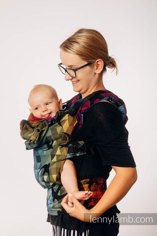 LennyGo Ergonomic Carrier, Baby Size, jacquard weave 100% cotton - SWALLOWS RAINBOW DARK #babywearing