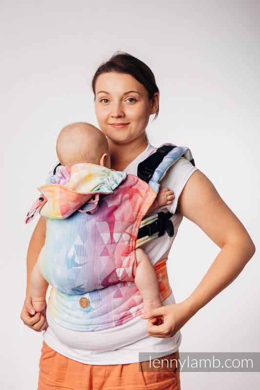 Nosidełko Ergonomiczne LennyGo z tkaniny żakardowej, 100% bawełna, Toddler Size - JASKÓŁKI TĘCZOWE LIGHT #babywearing