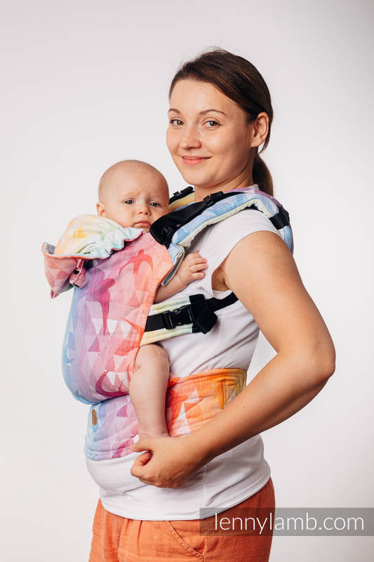 LennyGo Ergonomic Carrier, Baby Size, jacquard weave 100% cotton - SWALLOWS RAINBOW LIGHT #babywearing