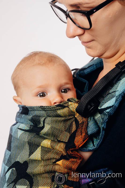 Nosidełko LennyUpGrade z tkaniny żakardowej 100% bawełna , rozmiar standard - JASKÓŁKI TĘCZOWE DARK #babywearing