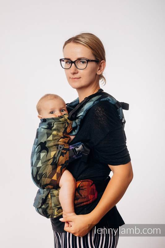 LennyUpGrade Carrier, Standard Size, jacquard weave 100% cotton - SWALLOWS RAINBOW DARK #babywearing