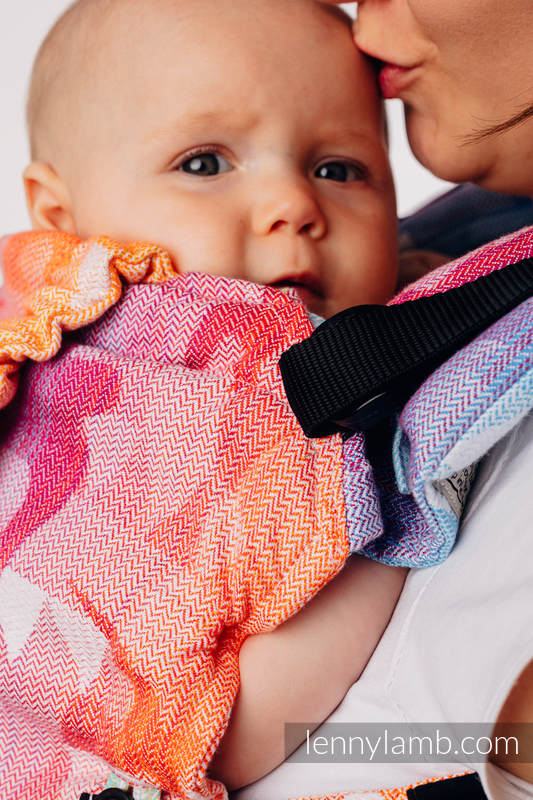 LennyUpGrade Carrier, Standard Size, jacquard weave 100% cotton - SWALLOWS RAINBOW LIGHT #babywearing