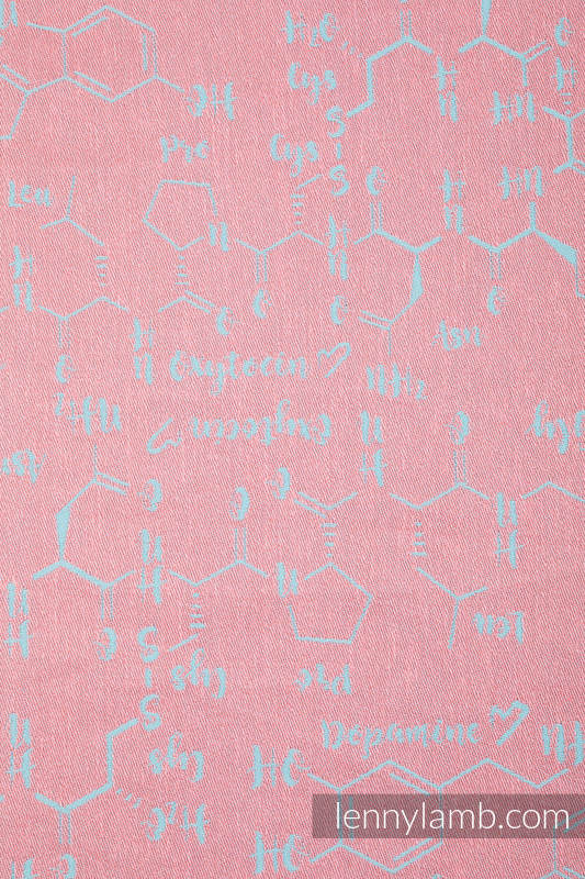 Baby Wrap, Jacquard Weave (47% cotton, 37% linen, 16% silk) - LOVE HORMONES - PINK RIVER - size S #babywearing