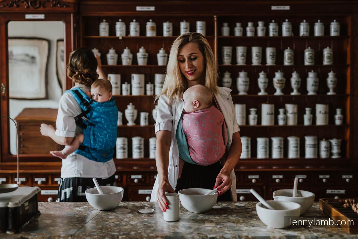 Baby Wrap, Jacquard Weave (47% cotton, 37% linen, 16% silk) - LOVE HORMONES - PINK RIVER - size S #babywearing