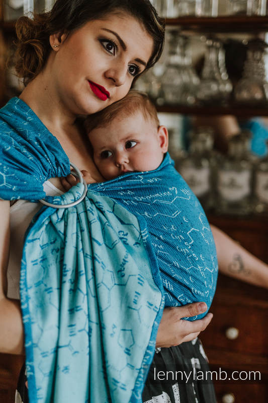 Ringsling, Jacquard Weave, with gathered shoulder (72% cotton, 28% silk) - LOVE HORMONES - LOVE OCEAN - standard 1.8m #babywearing