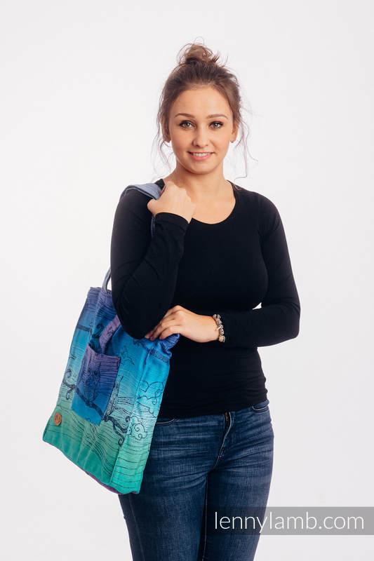 Torba na ramię z materiału chustowego, (100% bawełna)  - SOWY BUBO - ZMROK - rozmiar uniwersalny 37cm x 37cm #babywearing