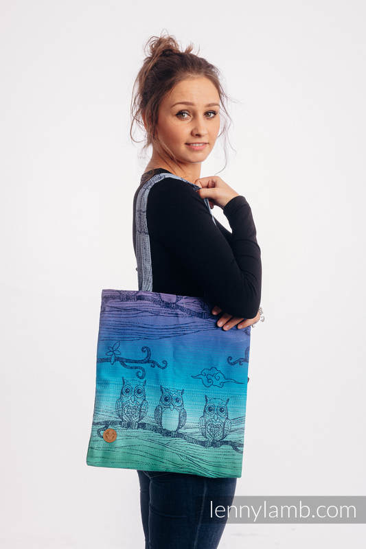 Shopping bag made of wrap fabric (100% cotton) - BUBO OWLS - DUSK #babywearing