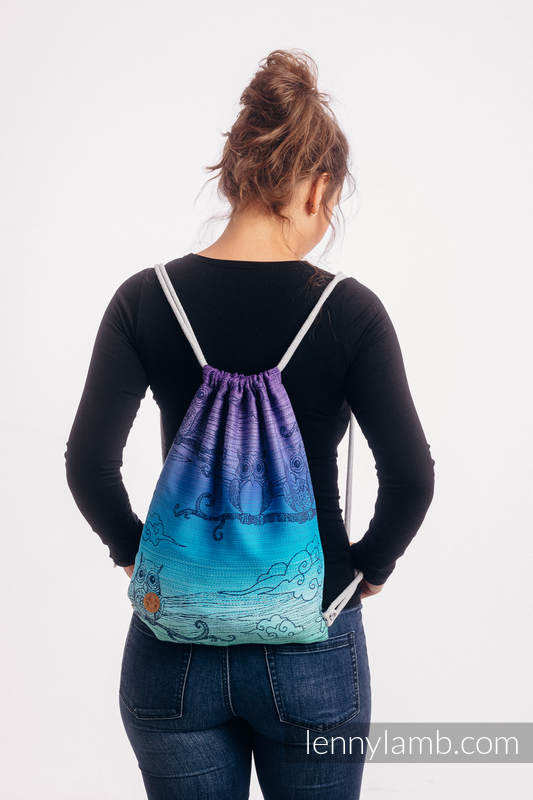 Sackpack made of wrap fabric (100% cotton) - BUBO OWLS - DUSK - standard size 32cmx43cm #babywearing