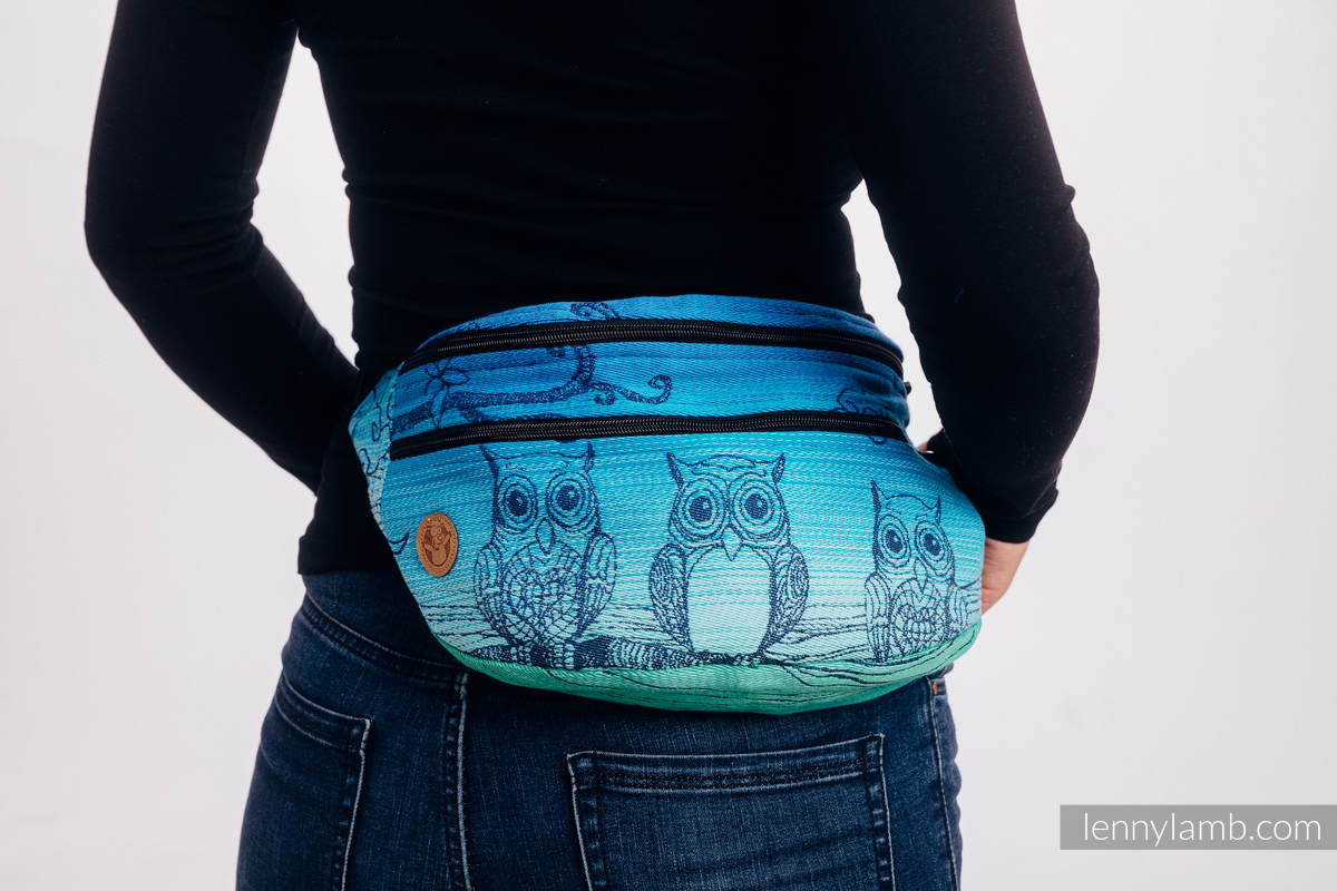 Waist Bag made of woven fabric, size large (100% cotton) - BUBO OWLS - DUSK #babywearing