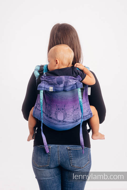 Lenny Buckle Onbuhimo baby carrier, standard size, jacquard weave (100% cotton) - BUBO OWLS - DUSK #babywearing