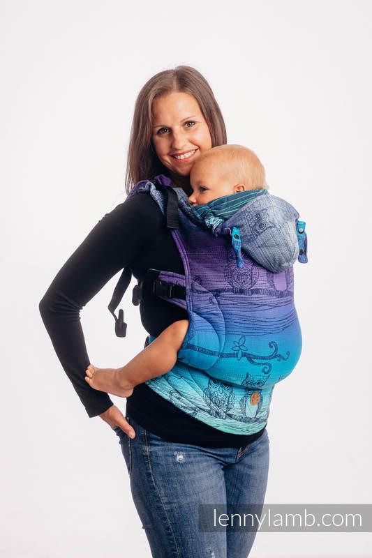 LennyGo Ergonomic Carrier, Toddler Size, jacquard weave 100% cotton - BUBO OWLS - DUSK #babywearing