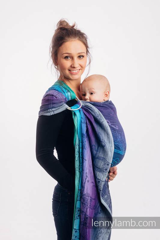 Ringsling, Jacquard Weave (100% cotton) - with gathered shoulder - BUBO OWLS - DUSK - long 2.1m #babywearing