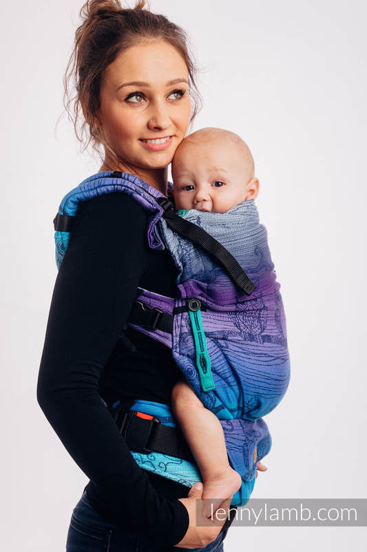 LennyUpGrade Carrier, Standard Size, jacquard weave 100% cotton - BUBO OWLS - DUSK #babywearing
