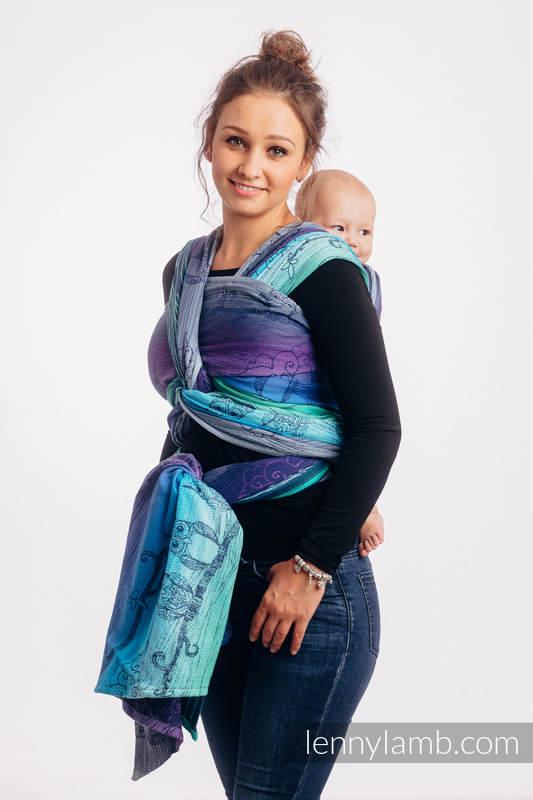 Baby Wrap, Jacquard Weave (100% cotton) - BUBO OWLS - DUSK - size M #babywearing