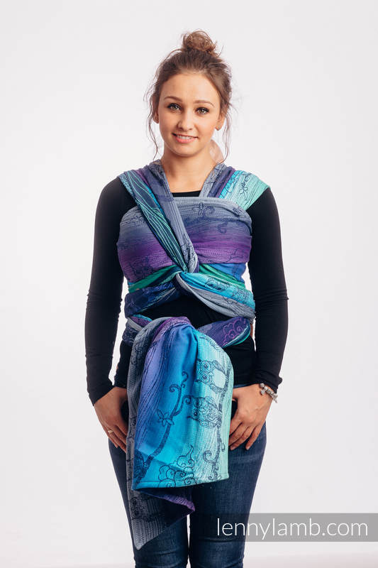 Baby Wrap, Jacquard Weave (100% cotton) - BUBO OWLS - DUSK - size XS #babywearing