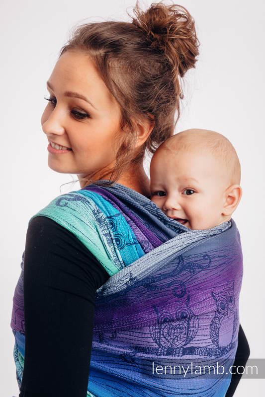 Żakardowa chusta do noszenia dzieci, 100% bawełna - SOWY BUBO - ZMROK - rozmiar XS #babywearing