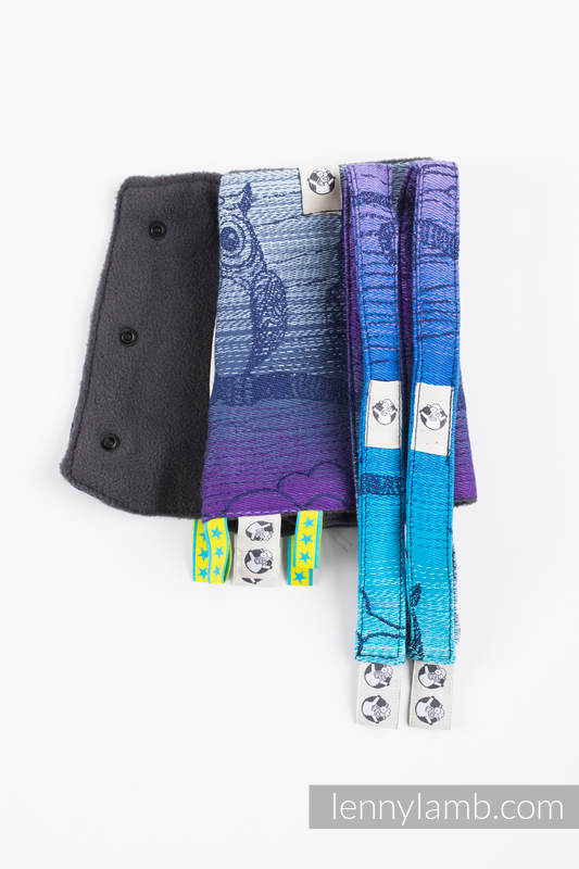 Drool Pads & Reach Straps Set, (60% cotton, 40% polyester) - BUBO OWLS - DUSK #babywearing