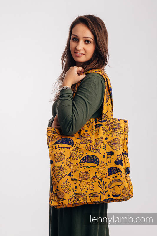 Shoulder bag made of wrap fabric (100% cotton) - UNDER THE LEAVES - GOLDEN AUTUMN - standard size 37cmx37cm #babywearing
