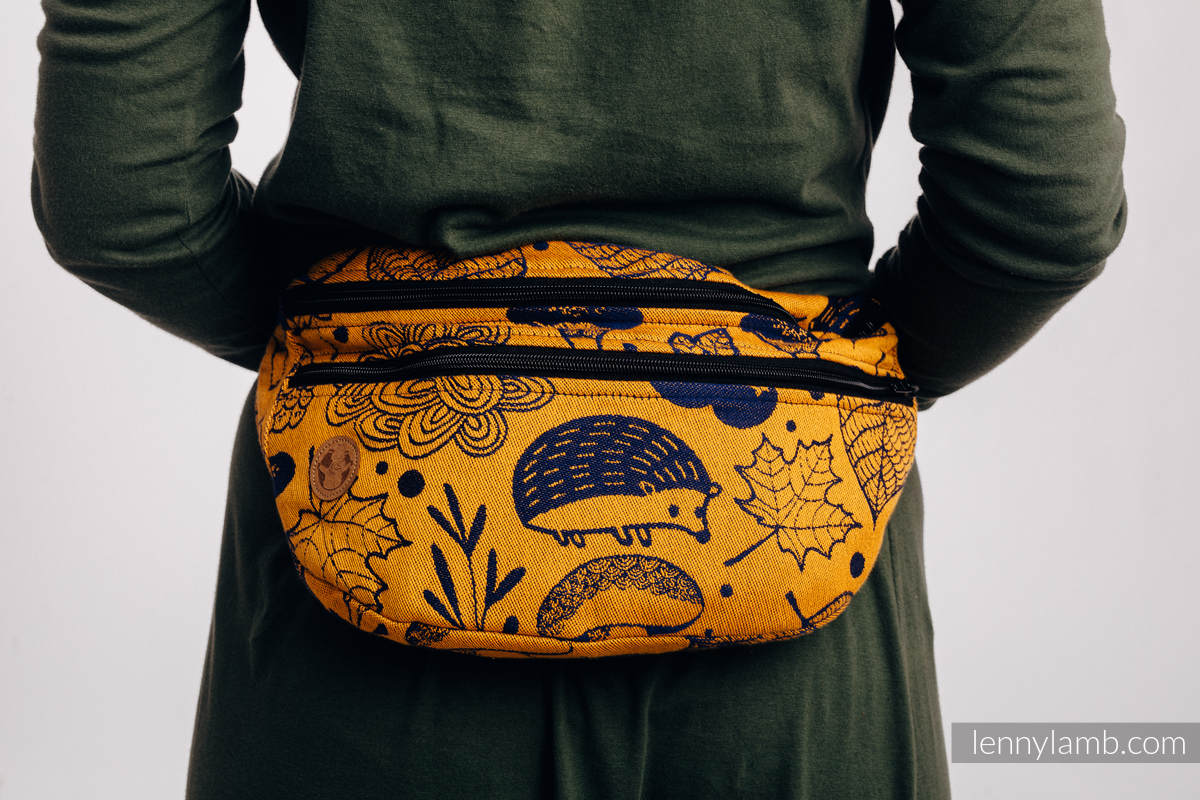 Waist Bag made of woven fabric, size large (100% cotton) - UNDER THE LEAVES - GOLDEN AUTUMN #babywearing