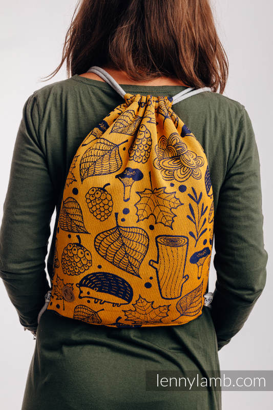 Sackpack made of wrap fabric (100% cotton) - UNDER THE LEAVES - GOLDEN AUTUMN - standard size 32cmx43cm #babywearing