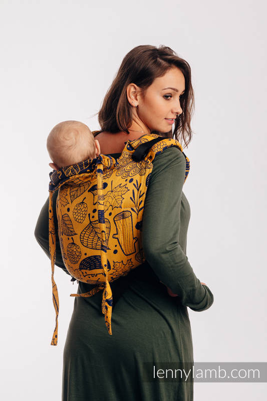 Lenny Buckle Onbuhimo baby carrier, standard size, jacquard weave (100% cotton) - UNDER THE LEAVES - GOLDEN AUTUMN #babywearing