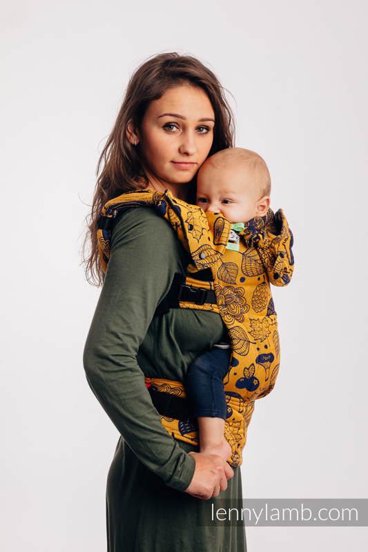 LennyGo Ergonomic Carrier, Baby Size, jacquard weave 100% cotton - UNDER THE LEAVES - GOLDEN AUTUMN #babywearing