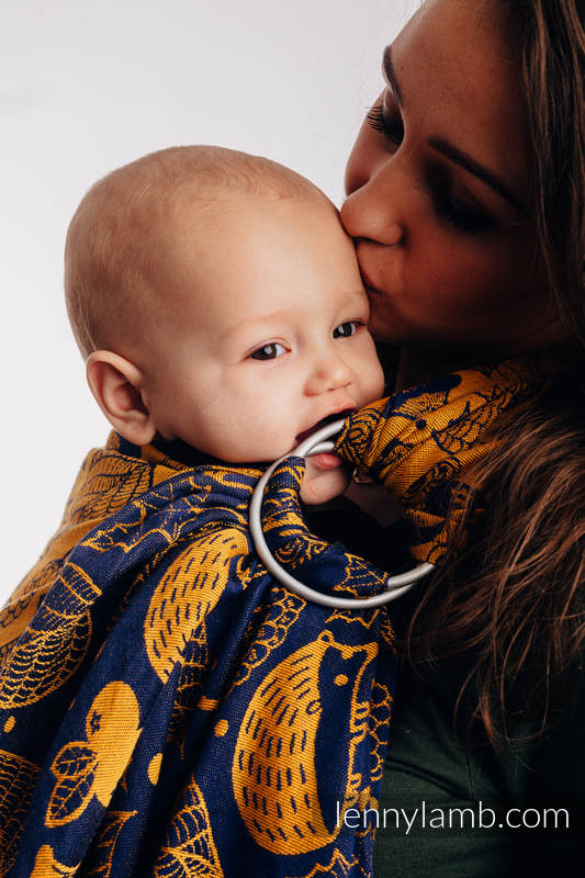 Ringsling, Jacquard Weave (100% cotton) - UNDER THE LEAVES - GOLDEN AUTUMN - long 2.1m #babywearing