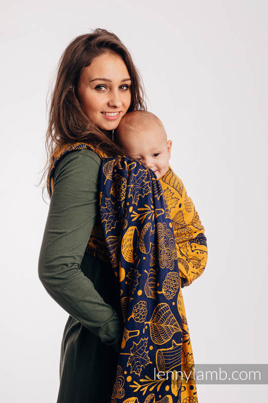 Baby Wrap, Jacquard Weave (100% cotton) - UNDER THE LEAVES - GOLDEN AUTUMN - size XS #babywearing