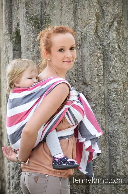Chusta do noszenia dzieci, tkana splotem skośno-krzyżowym, bawełna - Marsylianka - rozmiar M #babywearing
