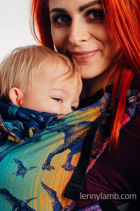 LennyGo Ergonomic Carrier, Baby Size, jacquard weave 100% cotton - JURASSIC PARK - NEW ERA #babywearing