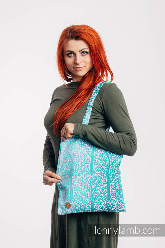 Shopping bag made of wrap fabric (96% cotton, 4% metallised yarn) - WOODLAND - FROST #babywearing
