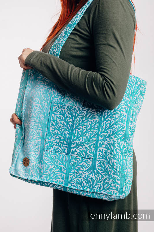 Shoulder bag made of wrap fabric (96% cotton, 4% metallised yarn) - WOODLAND - FROST - standard size 37cmx37cm #babywearing