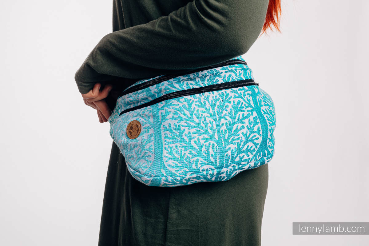 Waist Bag made of woven fabric, size large (96% cotton, 4% metallised yarn) - WOODLAND - FROST #babywearing