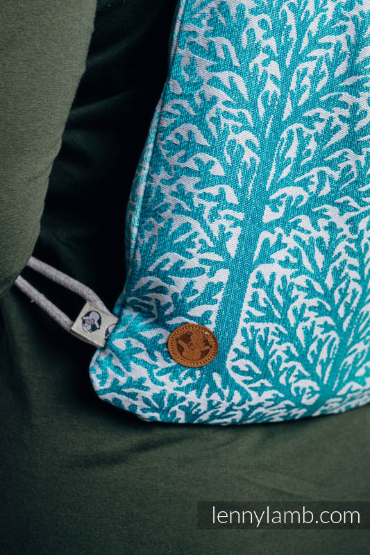 Sackpack made of wrap fabric (96% cotton, 4% metallised yarn) - WOODLAND - FROST - standard size 32cmx43cm #babywearing