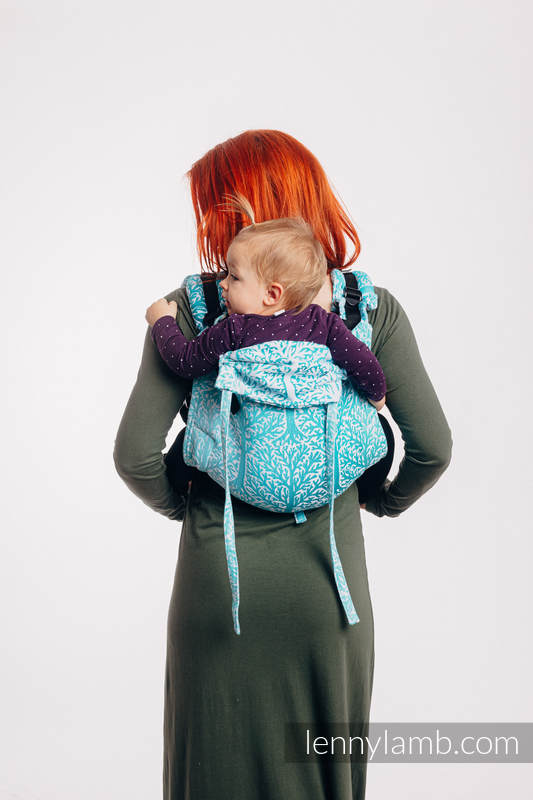 Lenny Buckle Onbuhimo baby carrier, toddler size, jacquard weave (96% cotton, 4% metallised yarn) - WOODLAND - FROST #babywearing