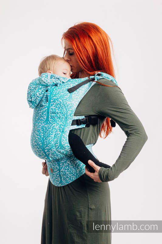 LennyGo Ergonomic Carrier, Baby Size, jacquard weave 96% cotton, 4% metallised yarn - WOODLAND - FROST #babywearing