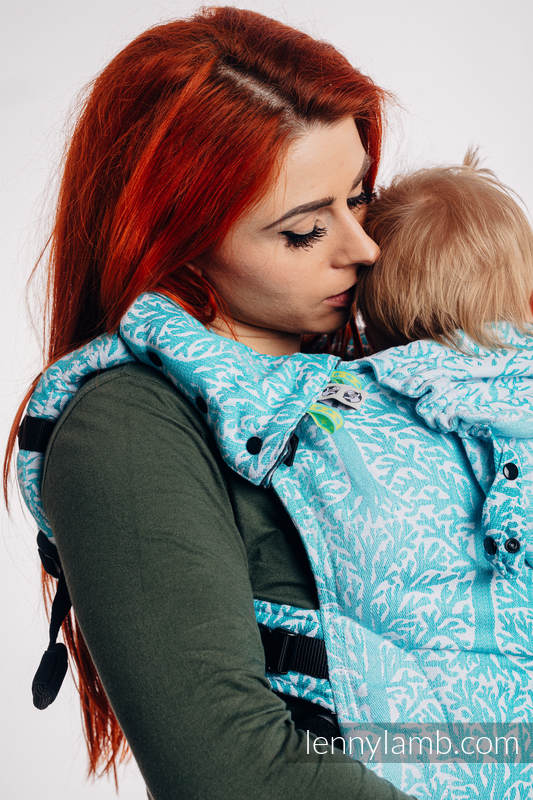 LennyGo Ergonomic Carrier, Toddler Size, jacquard weave 96% cotton, 4% metallised yarn - WOODLAND - FROST #babywearing